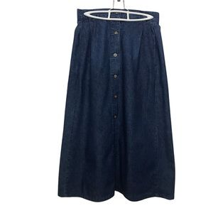 Cream juniors blue denim A- line midi skirt size 11